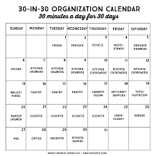 30 Minute 30 Day Organization Calendar Simply Kierste Design Co