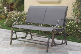 outdoor patio swing glider loveseat bench chair steel frame in dark grey com