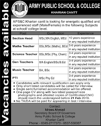 Teacher Job Army Public School College Kharian Cantt Job