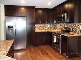 dark kitchen cabinets with light floors l shape island using granite countertop hard wood floor design