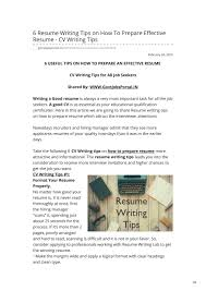 Tips For An Effective Resumes How To Prepare Effective Resume Cv Writing Tips By Govt