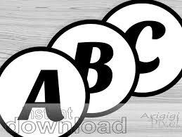 6 Inches Alphabet Number Circles Black White Printable Pdf Files