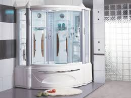 Bathroom, Innovative Corner Tub Shower Combo With Enclosure Glass Doors  Decofurnish Half Door For Tubs