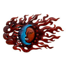 fair trade sun and moon steel wall art high wind eclipse novica fine mexican