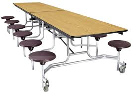 school table. Classroom Select Mobile Table, 12 Stools, Rectangle, 10 Feet, MDF Core, School Table
