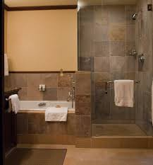 Bathroom:Amusing Bathroom Decorating With Rectangle White Bathtub And Grey  Tile Wall Also Walk In