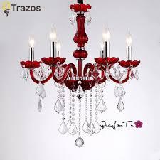 modern red crystal chandelier k9 crystal 110 240v re de cristal chandelier for kitchen dining room lighting re para sala chandelier fan ceiling fan