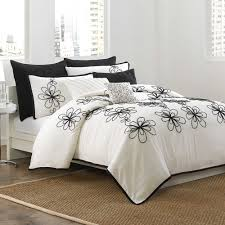dkny metro fl king duvet cover in vanilla black