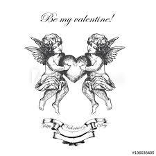 Angel Sketch Valentines Day Hand Drawn Angel Sketch And Amur Cupid Art