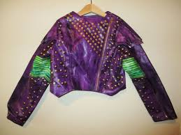 girls disney descendants mal full zip faux leather jacket costume sz 7 8
