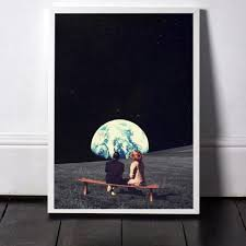 Painted Sky Designs Swings Us 4 79 20 Off Prints Earth Night Sky Art Canvas Posters Surrealism Galaxy Space Moon Canvas Painting Swing Cosmic Wall Pictures Sci Fi Decor In