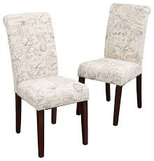 script printed linen dining chairs set of 2 french script accent dining chair