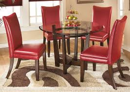 charell round dining table w 4 red side chairs signature design by ashley