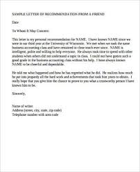 Letters Of Recommendation Personal Sample Personal Letter Of Recommendation 8 Examples In
