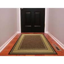 contemporary bordered design brown 3 ft x 5 ft non skid area rug