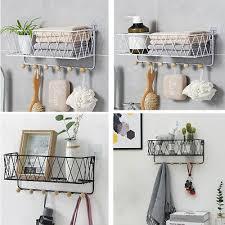 shelf basket with hooks floating wall