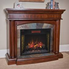 corner electric fireplace with mantel design