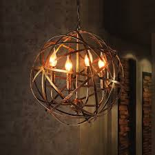 candle style chandelier rustic warehouse orb cage suspended metal globe pendant