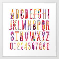 Cheerful Geometric Letters Art Print By Mariabiro