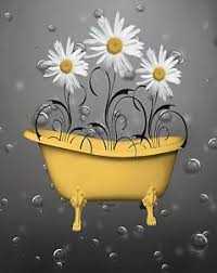 image is loading bathroom wall art daisy flowers bubbles decorative yellow  on grey and yellow bathroom wall art with bathroom wall art daisy flowers bubbles decorative yellow gray
