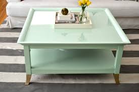 mint coffee table with gold feet a makeover