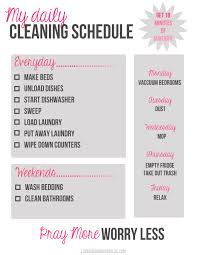 My Daily Cleaning Schedule A Free Printable Love And