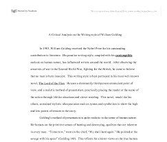 a critical analysis on the writing style of william golding  document image preview