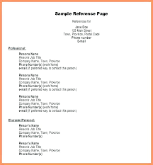 References Page Format For Resume Reference Professional Template Inspiration Resume References Page