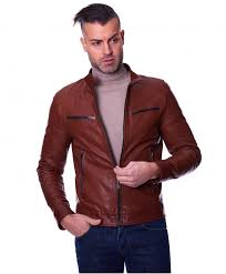 hamilton tan colour goat leather jacket wrinkled aspect