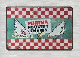 PAINTINGS AND PRINTS 1950s chicken Purina poultry Chows metal tin sign -  $15.95 | PicClick