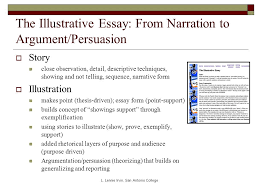 moving from narrative to persuasion essay basics while  the illustrative essay from narration to argument persuasion  story close observation detail