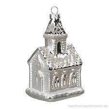Christbaumschmuck Weihnachtskugeln Figuren Kirche Silber