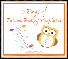 Poetry Templates 5 Days Of Autumn Poetry Templates Amys Wandering