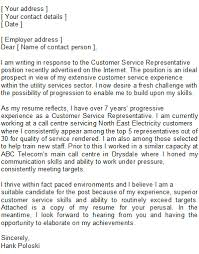 Customer Service Representative Cover Letter Customer Service