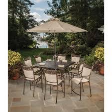patio furniture dining sets with umbrella.  Umbrella 11Piece Aluminum Outdoor Bar Height Dining Set And Umbrella And Patio Furniture Sets With U