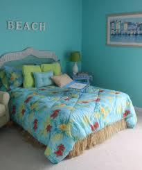 bedroom beach theme bedroom for girls white polyester curtain chrome finish table lamps blue pattern