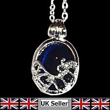 vampire diaries inspired blue lapis lazuli silver pendant necklace uk er