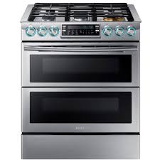 slide in double oven gas range with self cleaning convection oven in stainless steel