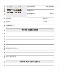 Maintenance Work Order Forms Work Order Form Sample 9 Examples In