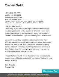 Chemist Cover Letter Example