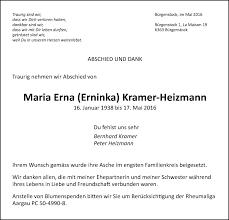 Traueranzeigen von Maria Erna Kramer-Heizmann   trauer.nzz.ch