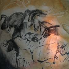 chauvet cave in the valley of the ardèche river in france is filled with paintings