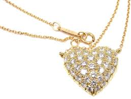 pave diamond gold puffed heart pendant necklace for 4