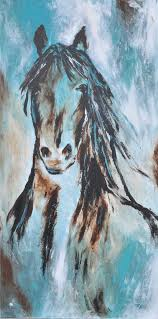 large abstract contemporary black horse art in turquoise and brown beautiful modern original painting cowboy western art