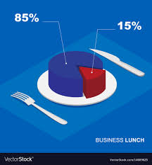Isometric 3d Pie Chart On Plate Business Lunch