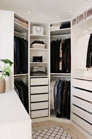Bedroom, Walk In Closet Master Bedroom L Shaped White Lacquer Oak Wood  Wardrobe Without Door