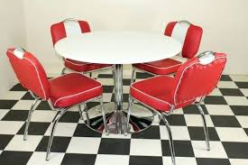 diner kitchen table diner furniture high gloss round table 4 red white studded chairs dining table sets with bench