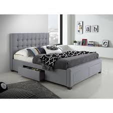 bed with drawers. Perfect With DG Casa Kyla Grey WoodFabric Queensized 4drawer Bed On With Drawers G