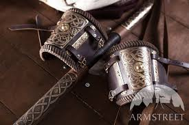viking leather bracers with brass accents share