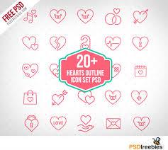 flyers logo outline 20 hearts outline icon set psd freebie psdfreebies com